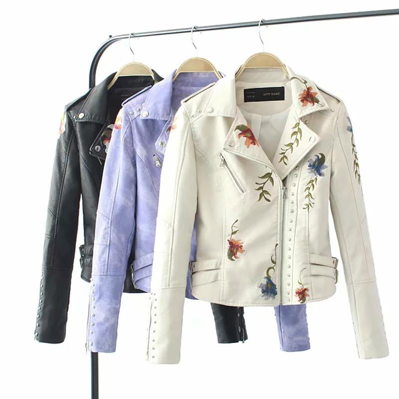 Retro floral bordado PU chaqueta de cuero de las mujeres de la chaqueta de la cremallera de la motocicleta del remache imitación de la motocicleta de la calle imitación