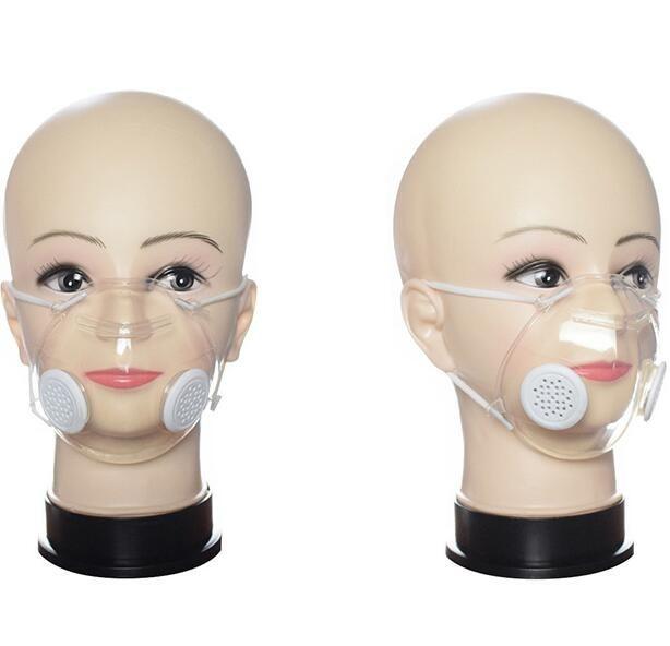 Transparente Máscara Facial com válvula PP Limpar máscara com duplo Respirar Máscaras válvula anti-poeira lavável Máscaras Designer Deaf Mute GGA3538-3