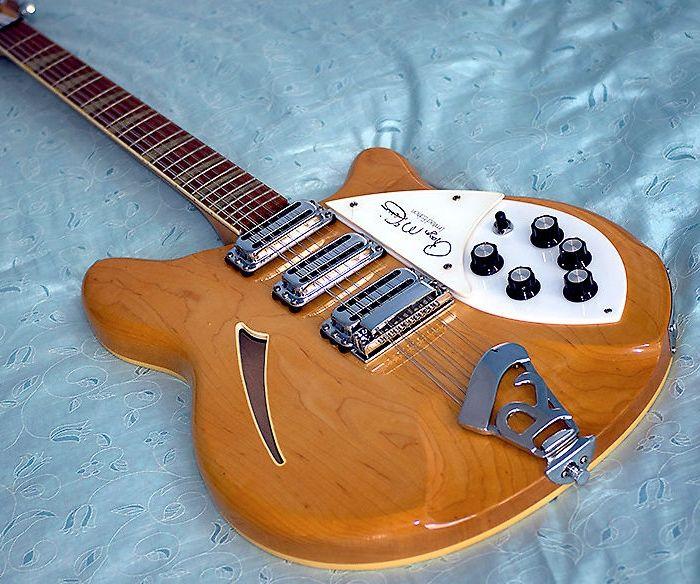 RIC Roger McGuinn 1988 370 Maple Glo Natural 12 Strings Semi Hollow Electric Guitar Lacquer Gloss 핑거 보드, 3 픽업, 삼각형 인레이