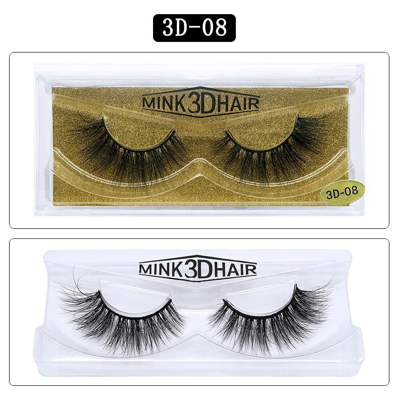 Dropshipping 25 styles 3D Vison Cils réel Mink faux cheveux cils naturels pour la beauté Maquillage Extension Faux Cils Faux Cils