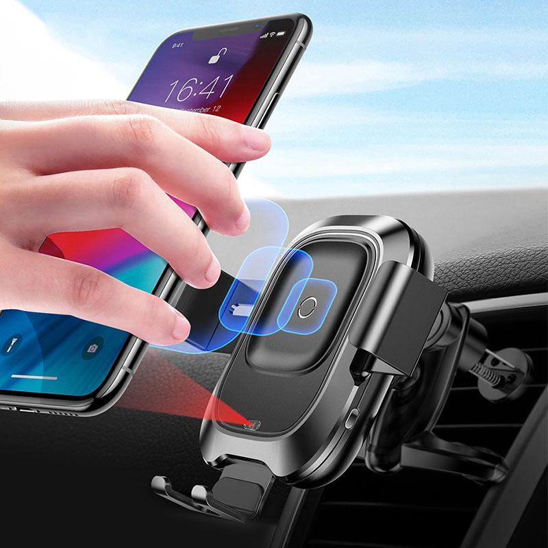 Qi Araç Kablosuz Şarj iPhone için 11 Pro XS Max Samsung S10 Akıllı Kızılötesi Hızlı Wirless Araç Telefonu Tutucu Standı Şarj