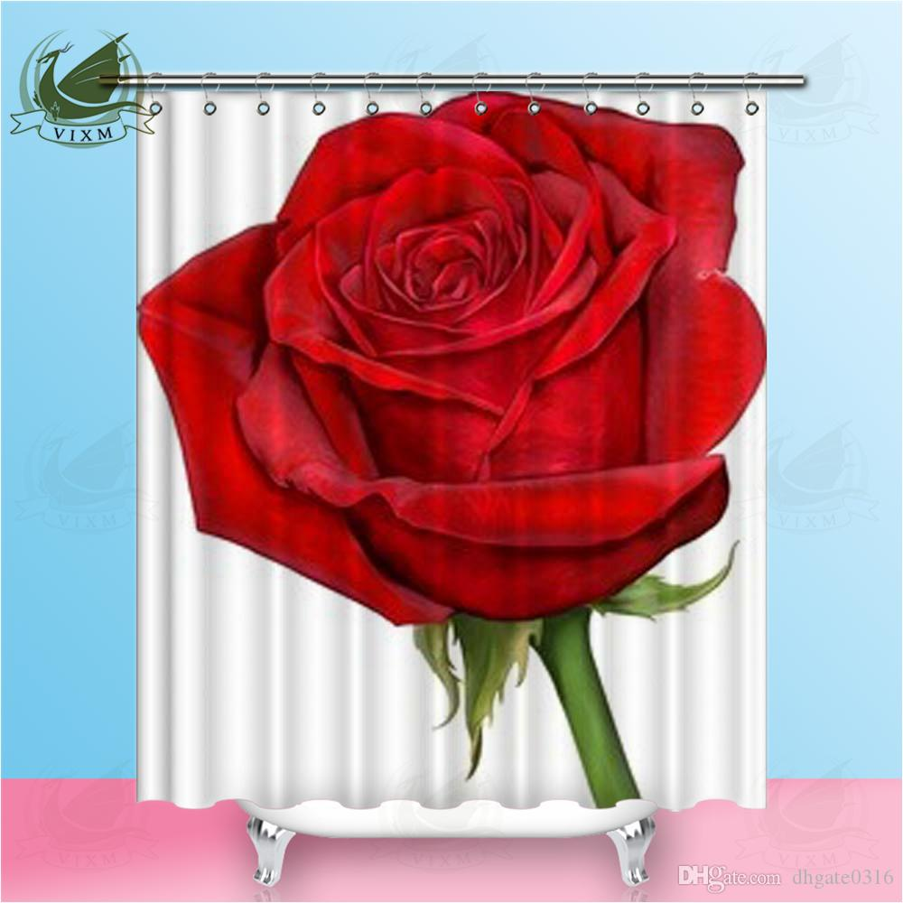 Bathroom Mat Set Shower Curtain Liner Red Rose Waterproof Fabric Valentine/'s Day