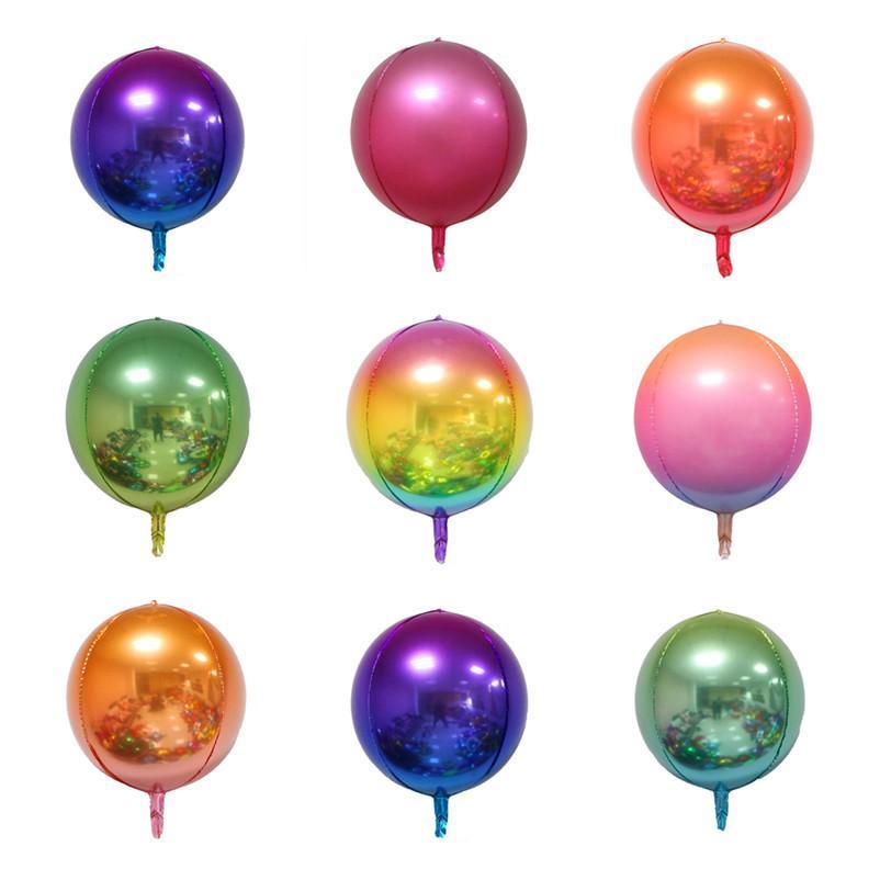 22 Inch Rainbow Balloon Gradient Color Metal Balloon Aluminum Film 4D Color Ball Net Red Rainbow Wrinkle Ball Party Decor