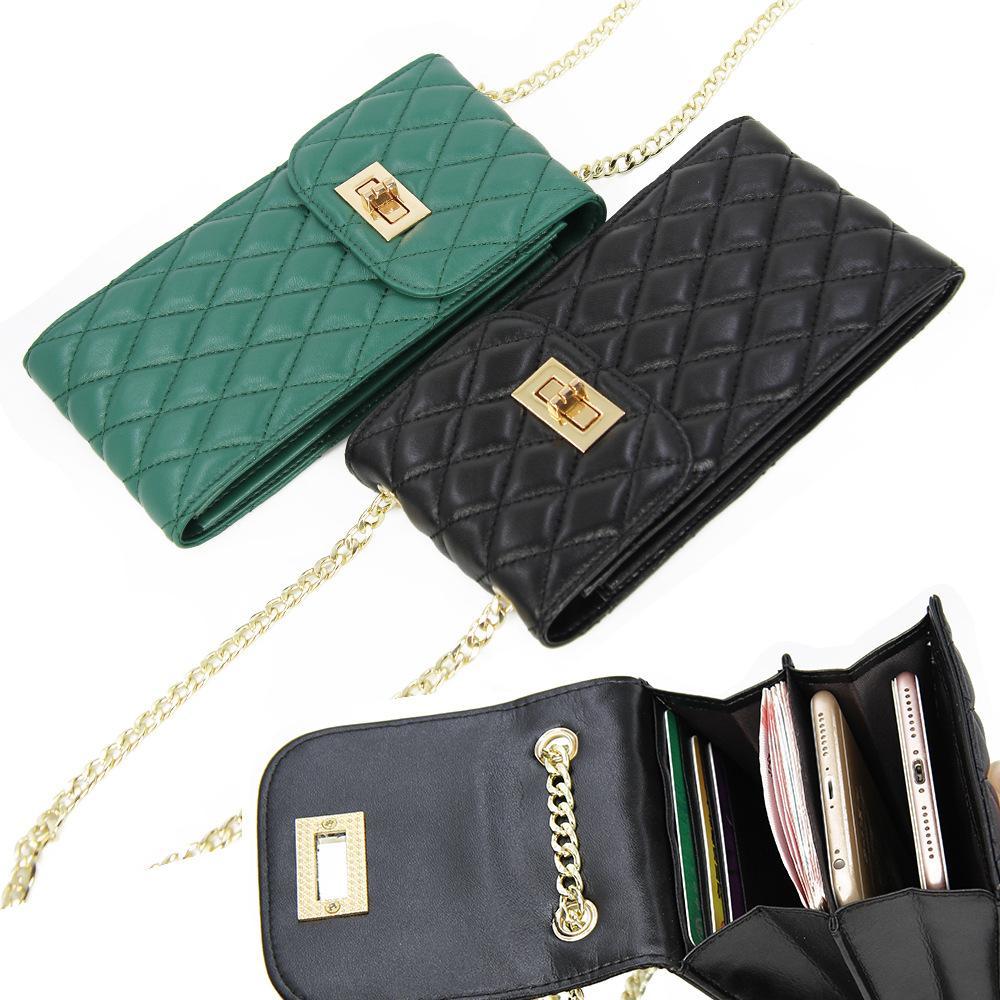 Sac en cuir véritable épaule Femmes Casual Wallet Designer en peau d'agneau téléphone portable sac à main Porte-cartes de sacs de Crossbody Totes