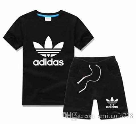 2019 Nouveau logo de luxe designer bébé fille garçon T-shirt pantalon deux pièces 2-6 ans olde costume marque enfants 2 pièces en coton coa