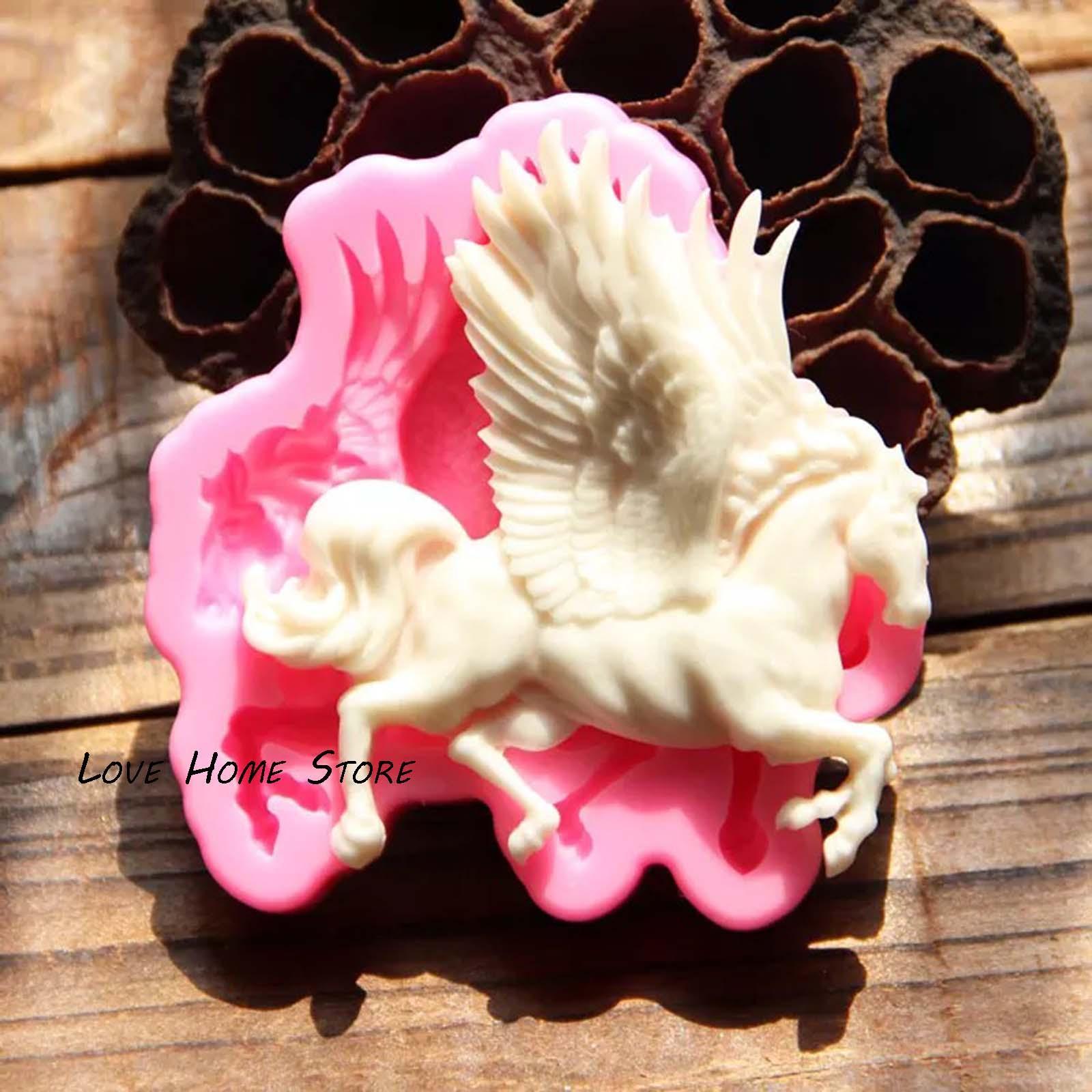 3D fai da te Pegasus silicone Stampi decorazioni al cioccolato fondente ghiaccio della gelatina biscotto candela che decora cottura strumenti di stampo sapone fatto a mano