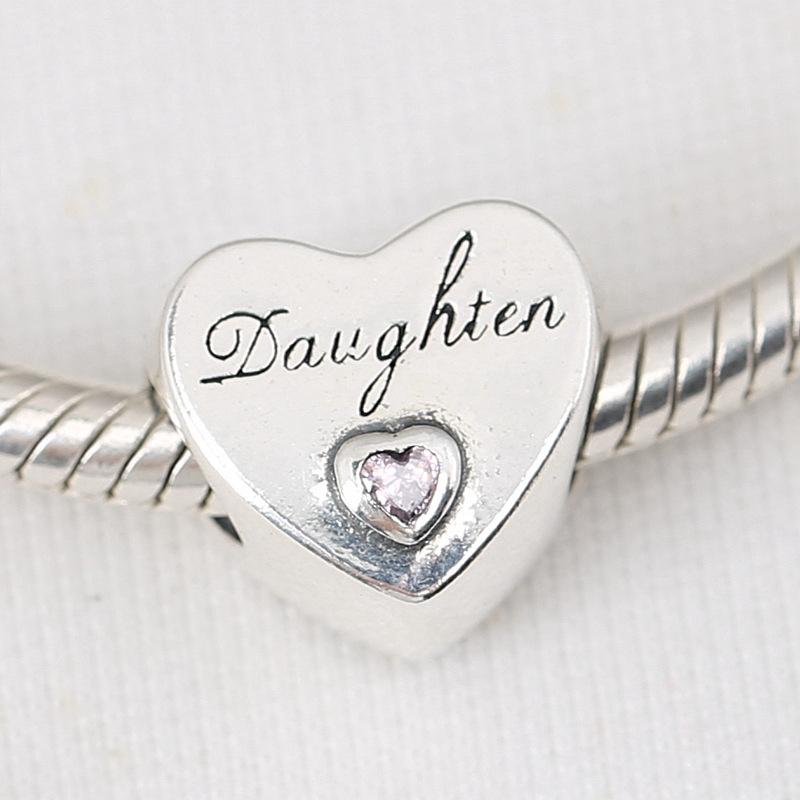 Encantos hija del corazón del amor Ajustar la pulsera S925 Europea plateado plata del encanto del espaciador DIY cadena de la serpiente de la joyería del collar del brazalete de las mujeres