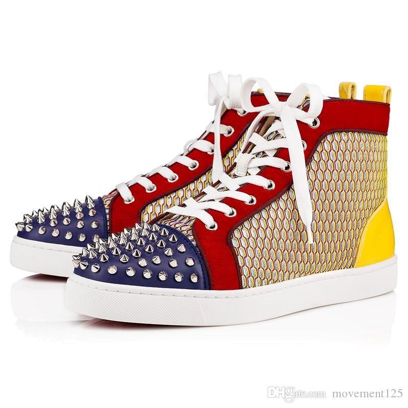 NEUE Art und Weise Spikes suede Orlato High Top Red Bottom-Turnschuh-Schuhe der Frauen, Männer beiläufige Gehen Marken-Designer-Party Freizeit Wohnungen EU35-46