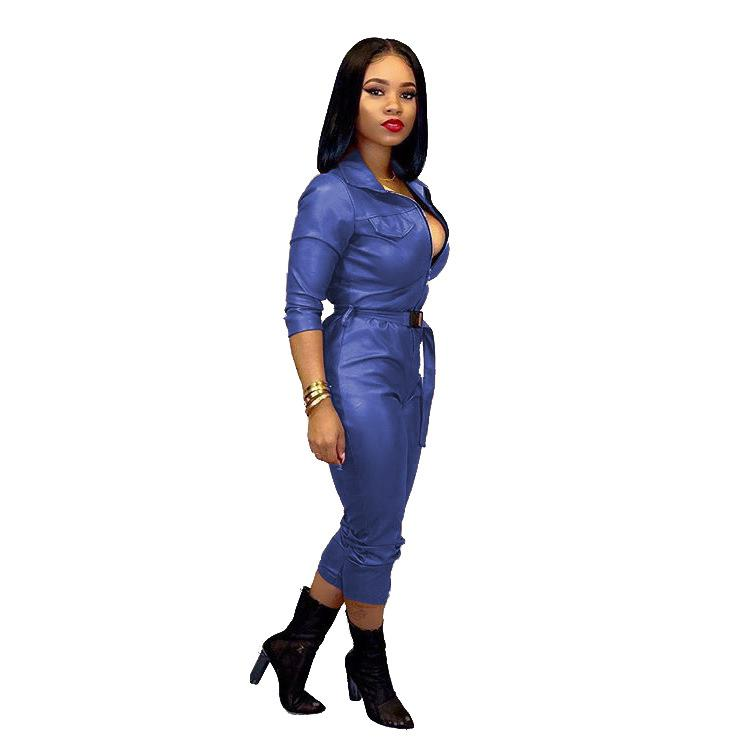 Women's Sexy 1 Piece Outfits Zipper Font V Neck Bodycon Jumpsuit Faux Leather Long Sleeve Party Clubwear Romper with Belt