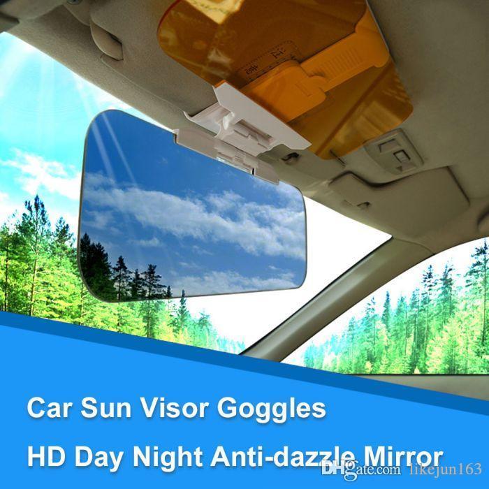 2 in 1 Car Sun Visor antiriflesso Lama occhiali di protezione giorno e notte HD Anti-abbagliamento Specchio Parasole Lama