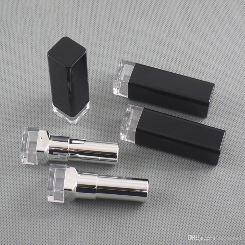 Yüksek kaliteli siyah DIY ruj 4g boş şişe kare ruj tüp saydam taban iç çapı 12.1mm