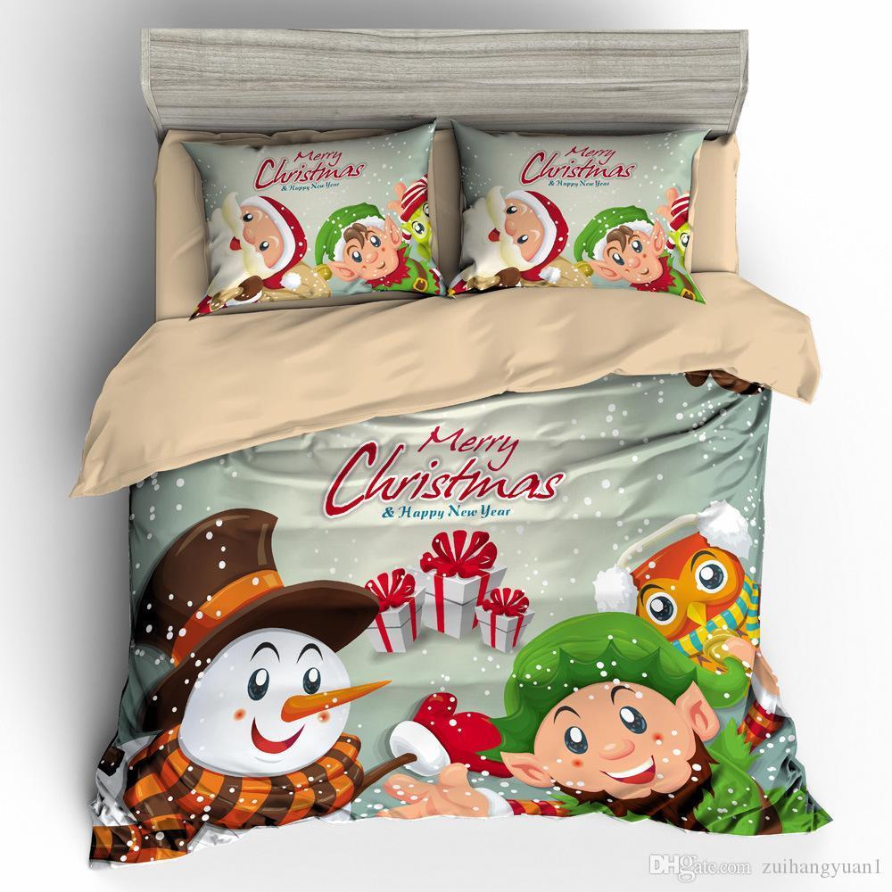 عيد ميلاد سعيد كيد ملاءات * مجموعة كارتون لطيف الحيوانات الأليفة الكلاب القطط فرش السرير الأطفال هدايا عيد الميلاد بابا نويل لحاف تغطية مجموعة