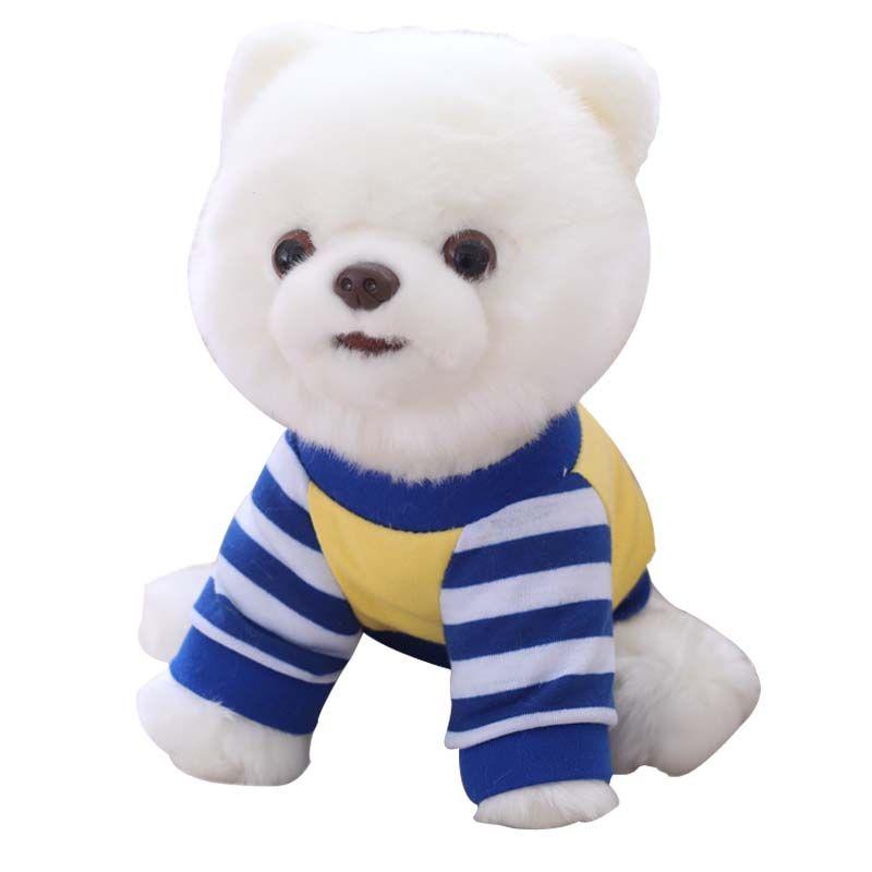 25CM لطيف محاكاة كلب صغير طويل الشعر أفخم محشوة لعب الأبيض الأزرق الشريط تي شيرت كلب صغير طويل الشعر خلع الملابس والدمى، والأطفال هدايا عيد الميلاد