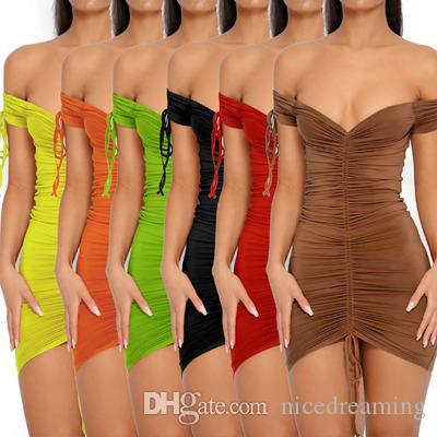 Donne BodyCon Abito a matita Signore Summer Candy Color Clubwear Mini Abito Delle Donne Estate Abiti Sexy Polyester V-Neck Abiti TQNOJ
