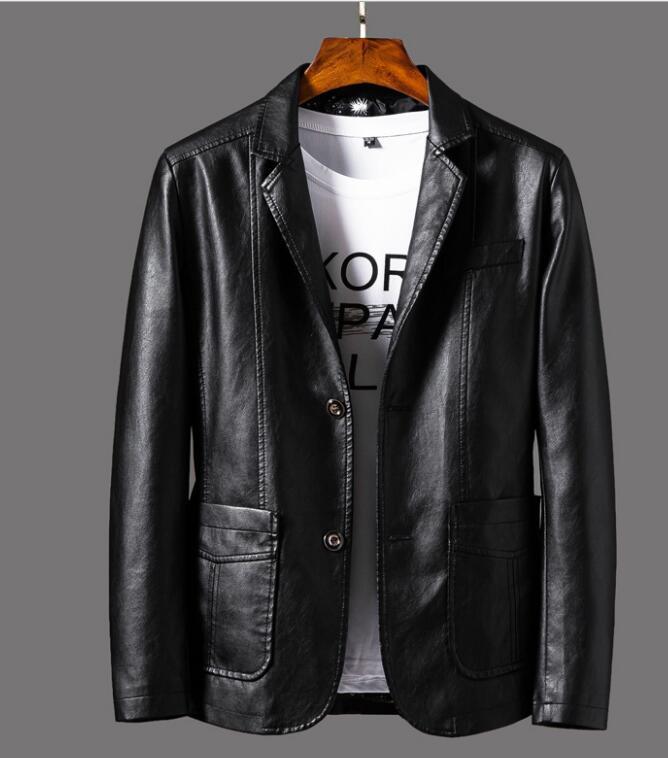Moda uomo monopetto in pelle Vestito del risvolto della giacca da motociclista giacca di pelle GIACCA tuta sportiva del cappotto giacche