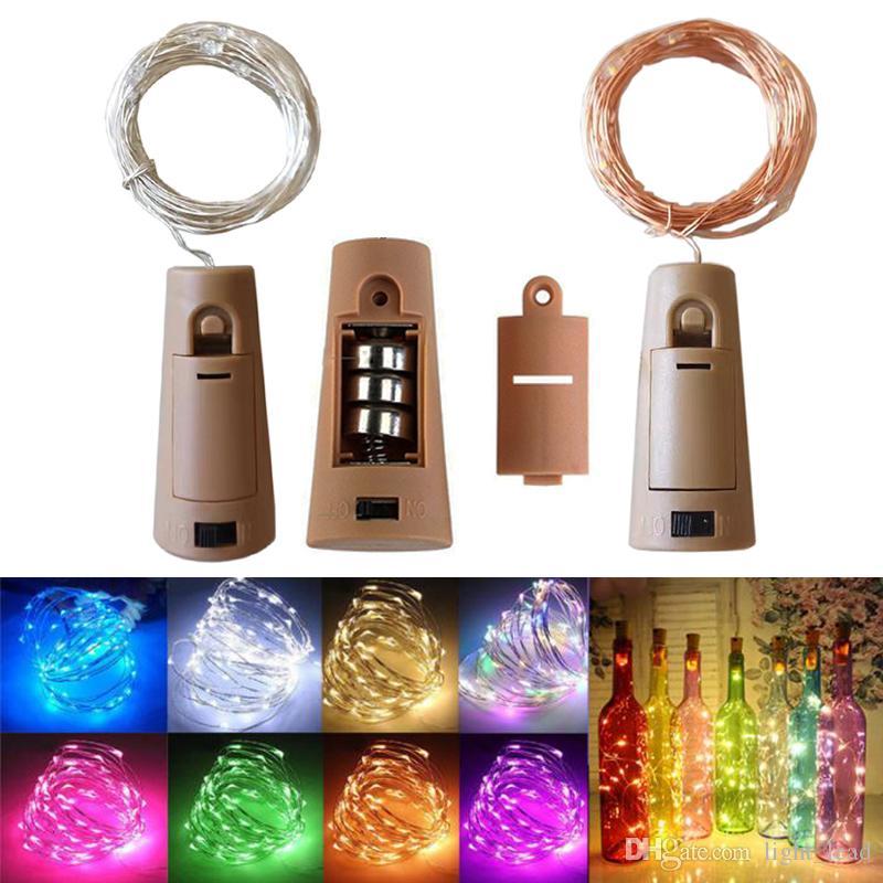 2M 20LED Weinflasche Lichter Cork Batteriebetriebene Starry DIY Weihnachten Schnur-Licht für Partei-Halloween-Hochzeit Decoracion