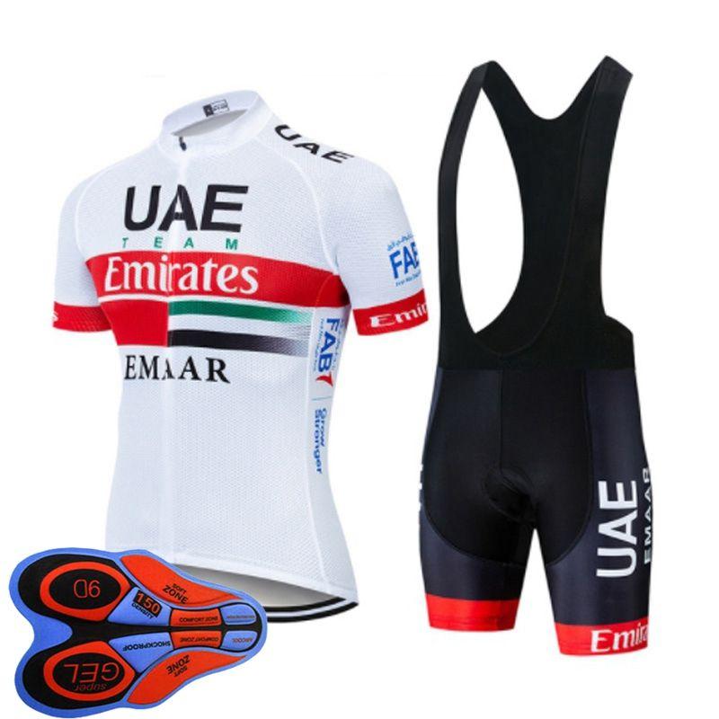 فريق الإمارات العربية المتحدة 2019 الرجال الدراجات جيرسي MTB دراجة الملابس دراجة قميص مريلة السراويل البدلة الصيف تنفس سباق ارتداء الرياضة موحدة dtmall