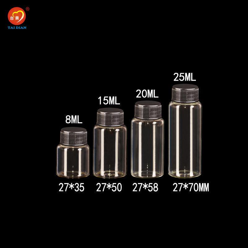 8ml 15ml 20ml 25ml Glass Bottles With Plastic Cap Black Screw Decorate Glass Vials Plastic Jars Bottles 50pcs