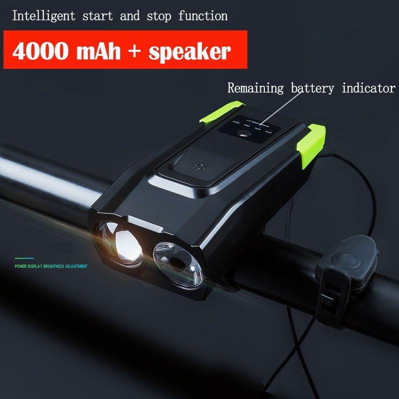 USB Mountain Bike Bicycle With Horn Bell Speaker LED Headlight Flashlight Lamp