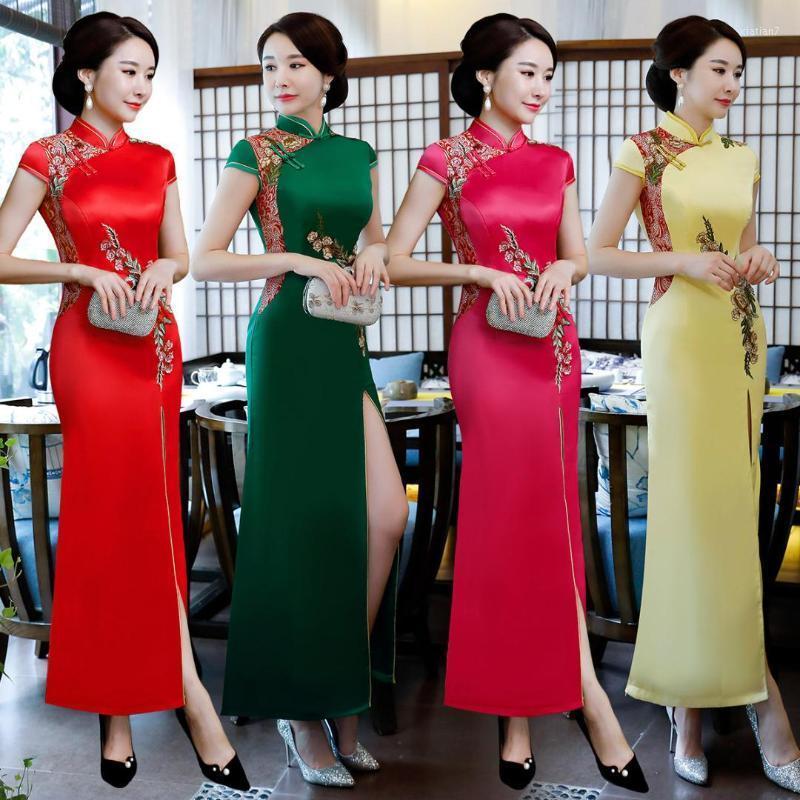 레드 여자 파티 저녁 롱 치파오 레트로 섹시 슬림 드레스 결혼 드레스 중국 스타일 웨딩 Qipao 레이디 의류 Vestido