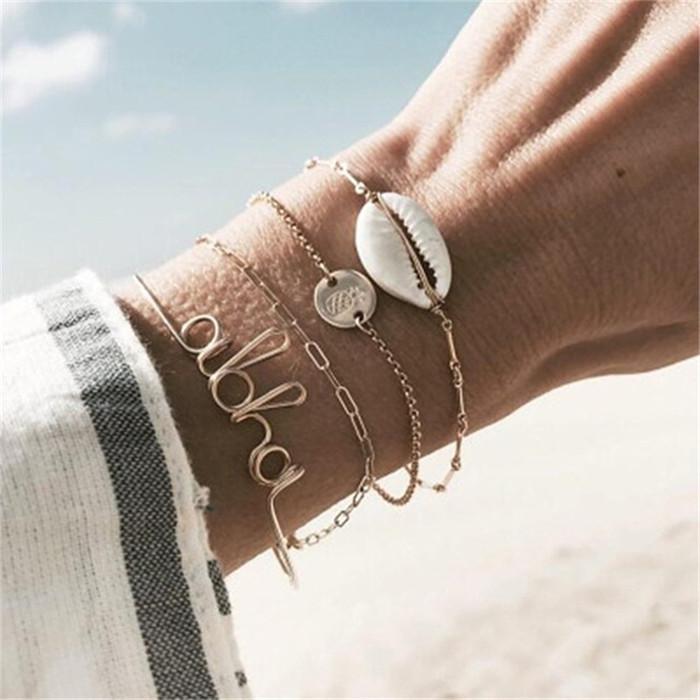 20 styles Bohemian Vintage Bracelet Set For Women Antique Shell Letter Pineapple Chain Bracelet Female Opening Adjustable Bangle HZSSL2