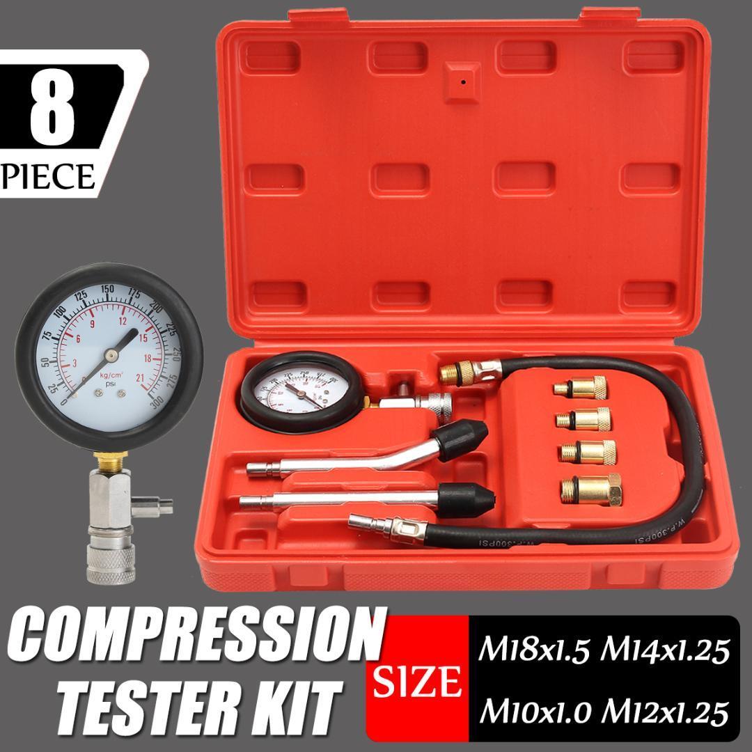 Kit de probador del medidor de presión del motor de gasolina Juego de compresor de diagnóstico de fugas de compresión Herramienta para auto con estuche