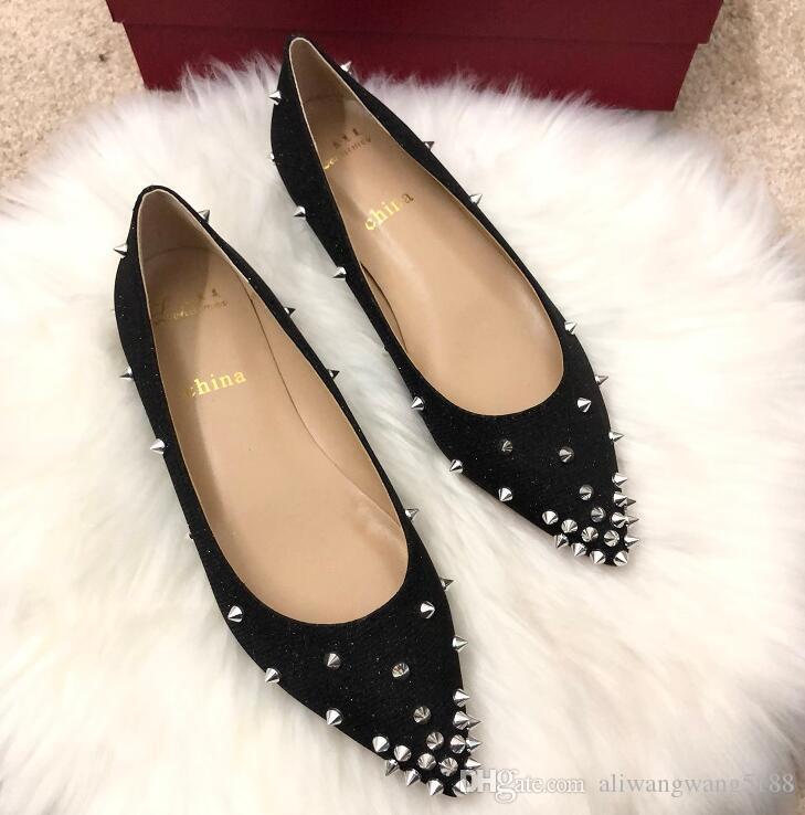 2019 noticias envío gratis Boda mujer dama moda espigas oro negro brillo lentejuelas Poined Toes pisos HEELED zapatos de tacones zapatos de estilete