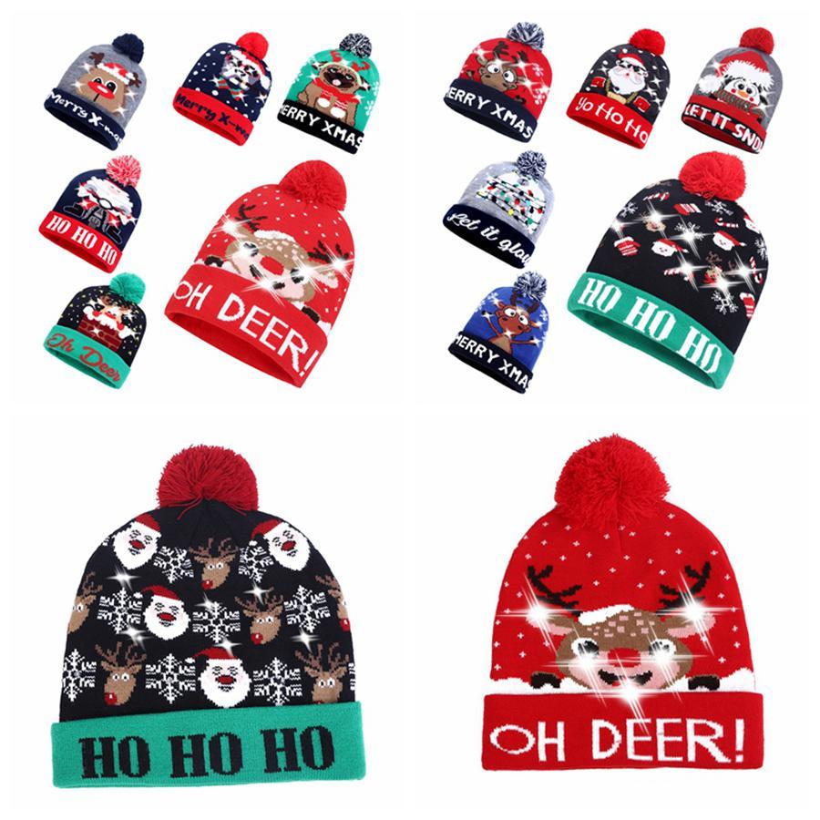 LED Christmas Knitting Hat Led Lighting Pom Beanie Kids Adult Snowflake Xmas Crochet Hats Lights Knitted Ball Cap Party Gift RRA2475