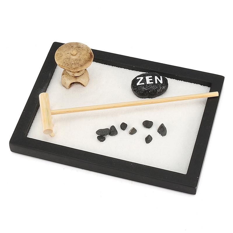 New Design Mini Zen Garden Office Gift Decor Feng Shui Rake Pebble Sand Peace Tabletop Ornaments 15cm