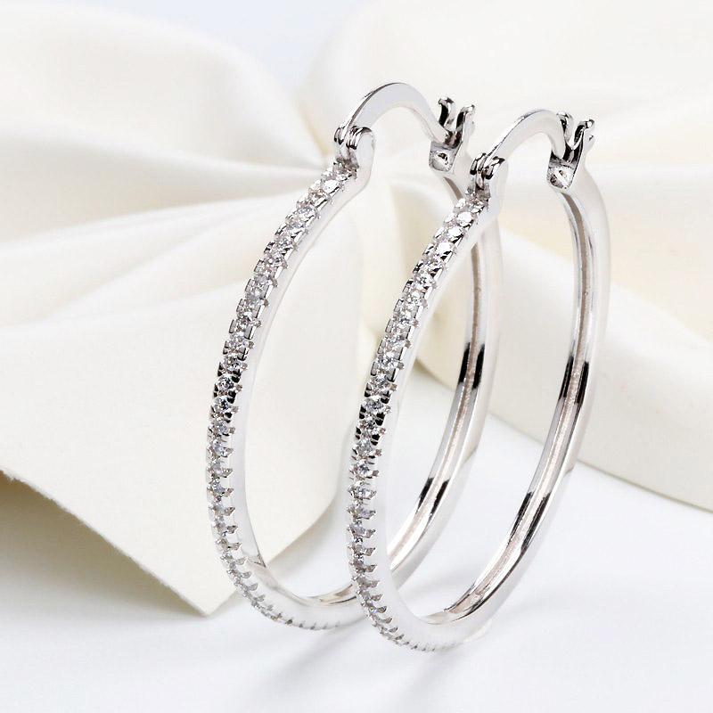 Alta qualidade 925 Sterling Silver Big Argola completa CZ Diamante Moda menina má Jewelry Partido Brincos