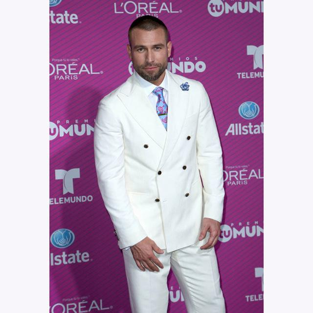 Tailored Made White Double Breasted Groom Fashion Wedding Dress Banquet Dress Men's Business Suit 2 Pieces (Jacket+Pant)