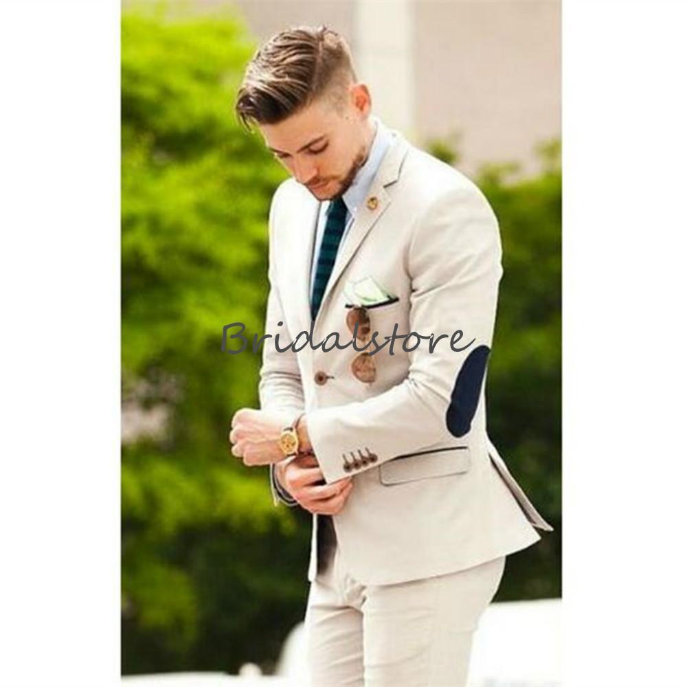 Yakışıklı Bej Erkekler Suit Batı Tarzı Man Örgün Balo Paty Smokin İnce Saten Tek Düğme Peaked Yaka Damat Düğün Suit İki Adet 2020
