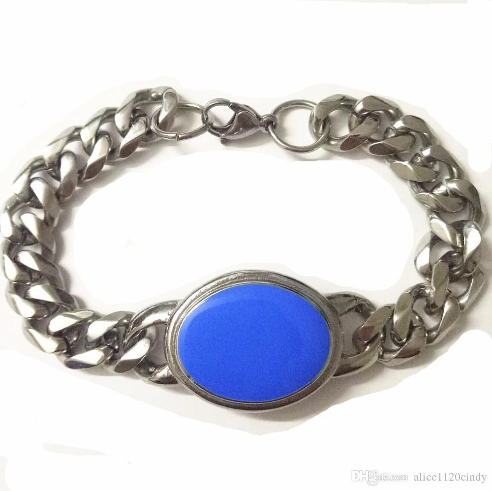 Горячая продажа Салман Кхан браслет для мужчин из нержавеющей стали 316L ковбойскую кубинский цепь с природой зеленый драгоценный камень звено цепи эллиптической формы браслет