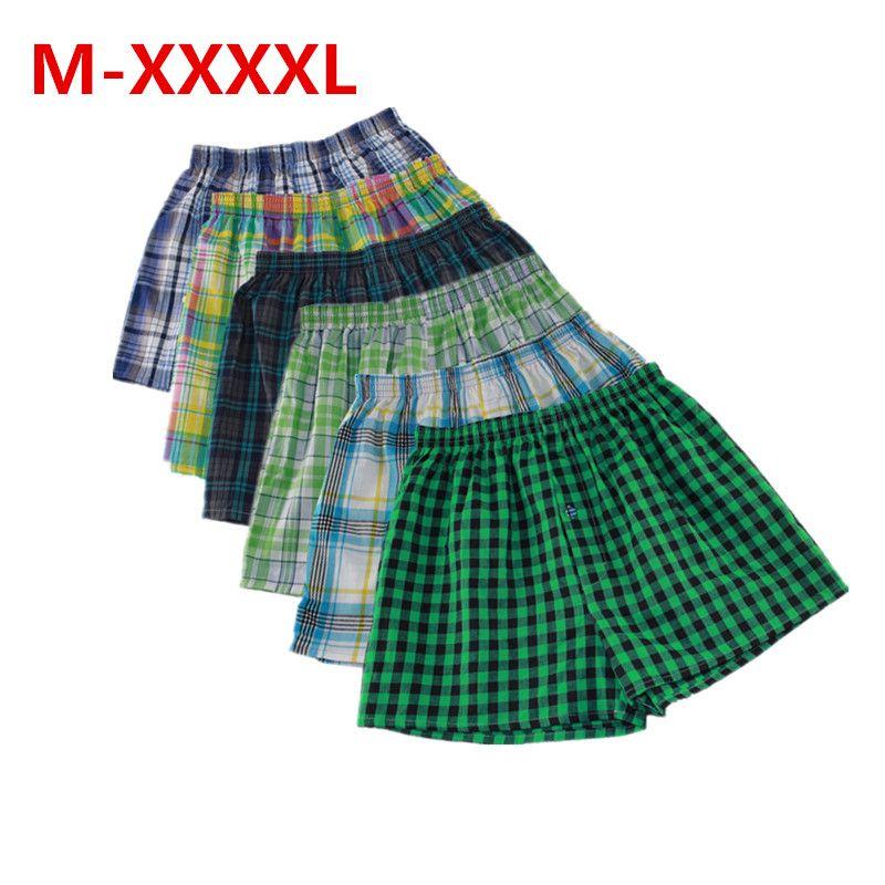 M-XXXXL mens underwear boxers loose shorts Classic Plaid Men Boxer Shorts Mix Colors Trunks Cotton Cuecas Underwear