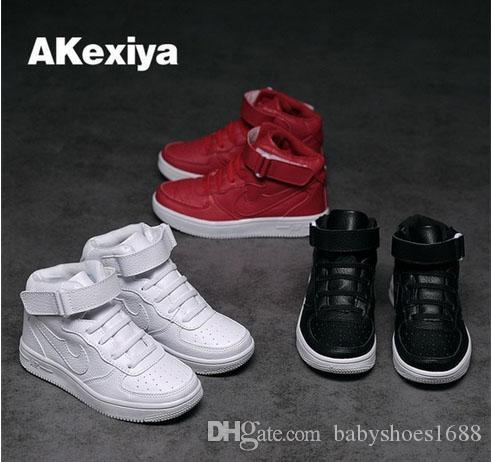 019 NOVA Primavera Outono Nova Menina Menino Branco Sapatos de Couro Sapatos Casuais Calçados infantis tamanho 26-38, frete Grátis