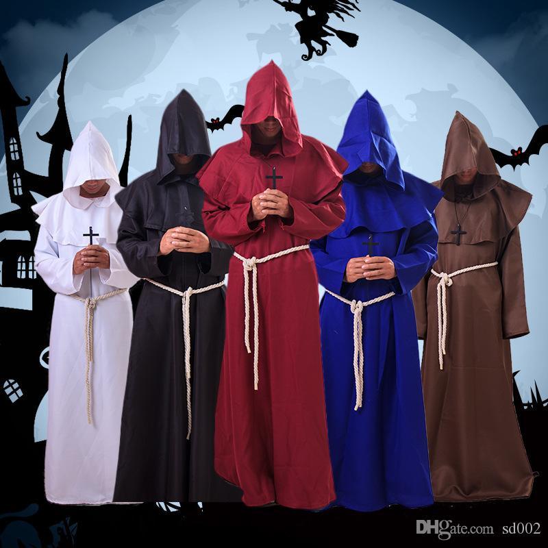 Traje Monástica retro tiempos medievales color puro retro sudaderas con capucha Capa de Halloween Cosplay queda la ropa Hombres Mujeres S M L XL 38qd E1