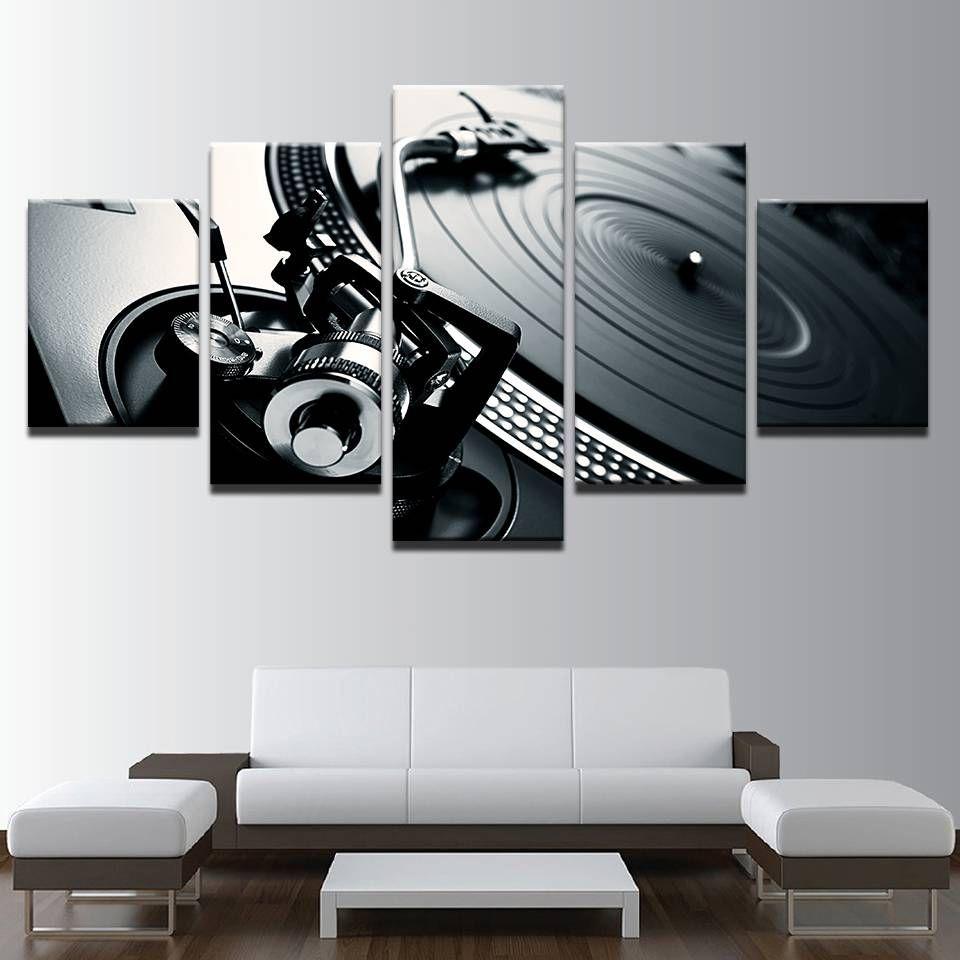 5 pezzi musica dj console mixer strumento pittura su tela wall art immagine decorazione della casa soggiorno tela dipinto senza cornice
