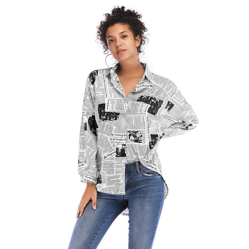 Mujeres Irregular Camisa de Moda Otoño Manga Larga Collar de Revestimiento Periódico Impreso Pullover Botón Abajo Tops Blusa