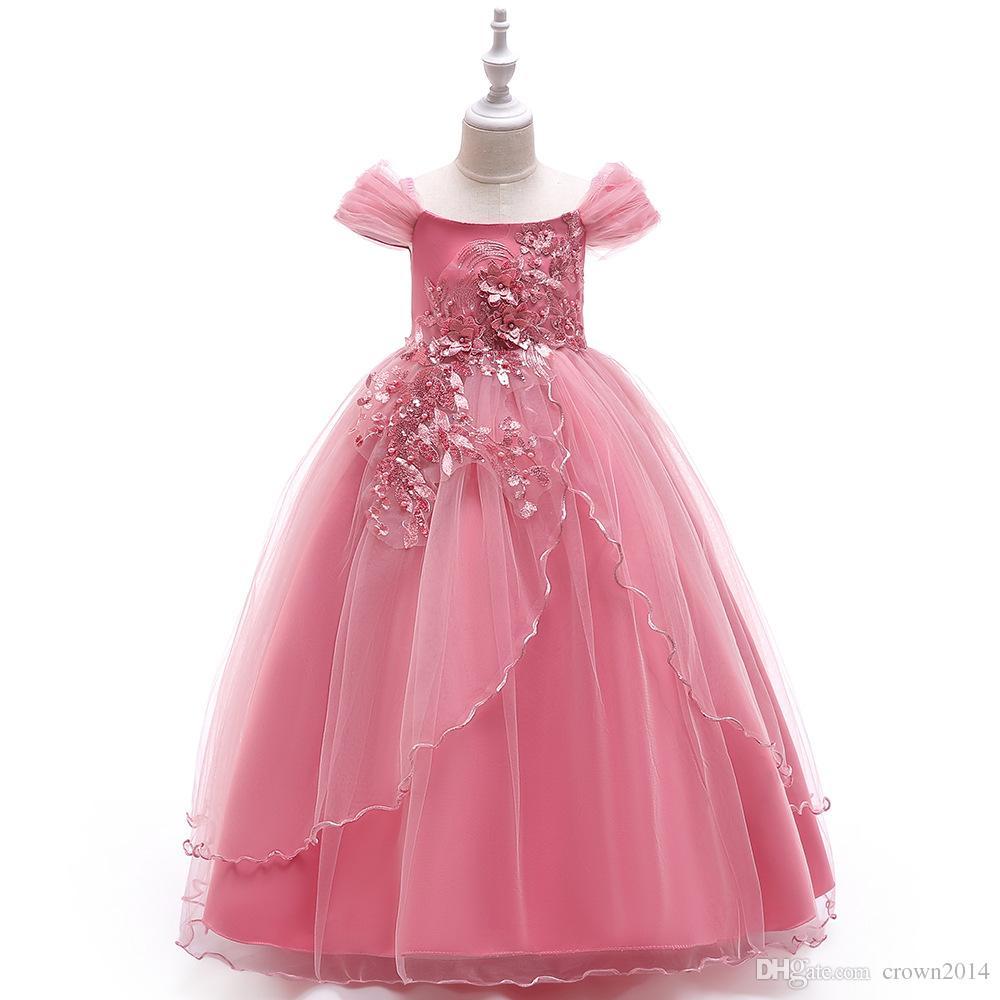 Princess Off Shoulder Meninas Pageant Dresses 2020 Pouco Meninas Bola Vestidos apliques de pérolas até o chão Puffy Flower Girl Dresses com Bow