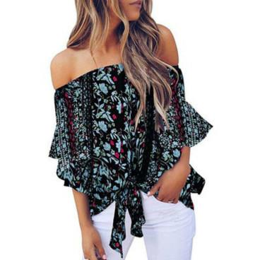 Mujeres de la manera floja de la camisa de Ladys camisetas del diseñador de las mujeres atractivas de la raya vertical Camisa cuello manga de Bell tops para mujer casuales Imprimir ropa 2020 nuevos calientes