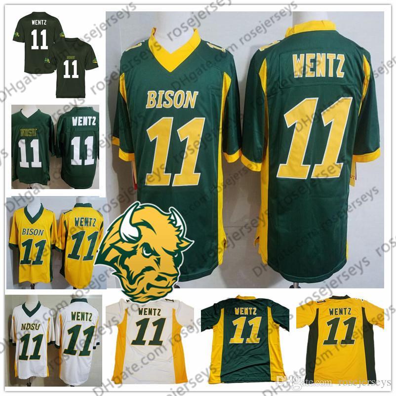 Günstige NCAA NDSU Bison # 11 Wentz Jersey Carson 2019 Retro gelbes Gold, Grün, Weiß North Dakota State Vintage-College Football Männer Jugend Kind