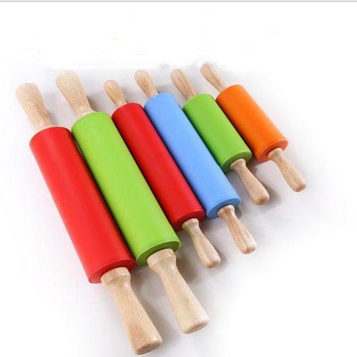 38.5 см Деревянная ручка силиконовой прокатной штырью тесто тесто для кондитерских роликов для детей выпечки инструменты кухонные лапши.
