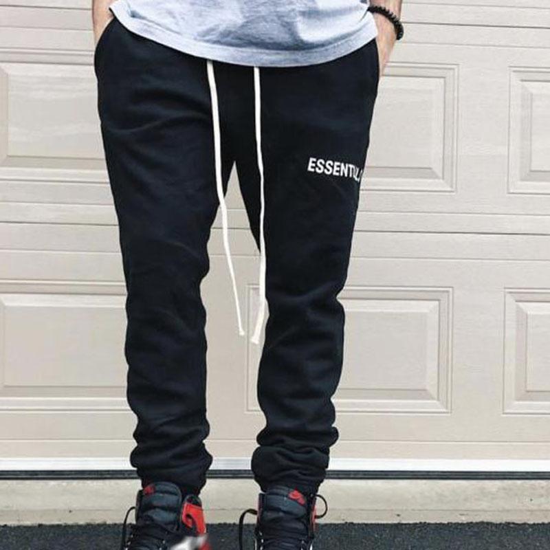 Мода-Лучшее качество Спортивные штаны Fear Of God Мужчины Женщины 100% хлопок Essentials Повседневные бегуны Спортивные брюки хип-хоп Drawstring серый