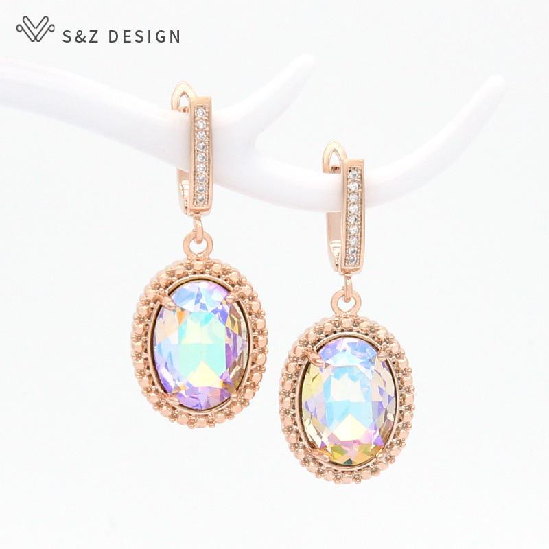 SZ coreana di disegno elegante dell'annata ovale di cristallo ciondola gli orecchini per le donne Monili di nozze figura dell'uovo 585 Eardrop regalo oro rosa