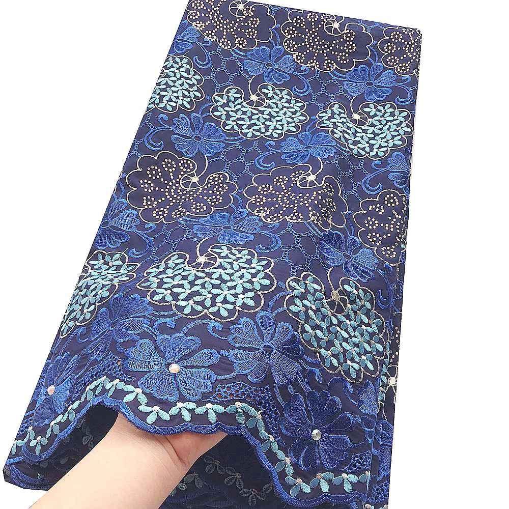 Нигерийский ткань шнурка 2019 высокого качества Magenta Royal Blue Lace ткани Мужчины Швейцарский Voile хлопка Материал шнурка для африканских женщин