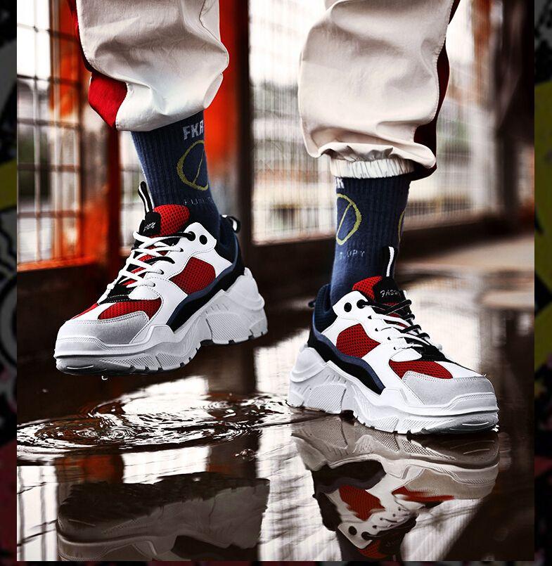Frau und Mann unisex Clunky Sneaker Casual Flats Round Toe Schuhe Sneaker Dorky Dad Platform Schuhe Schnürschuhe