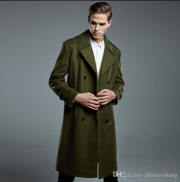 casual woolen coat men trench coats autumn winter long sleeves mens cashmere coat casaco masculino inverno erkek england