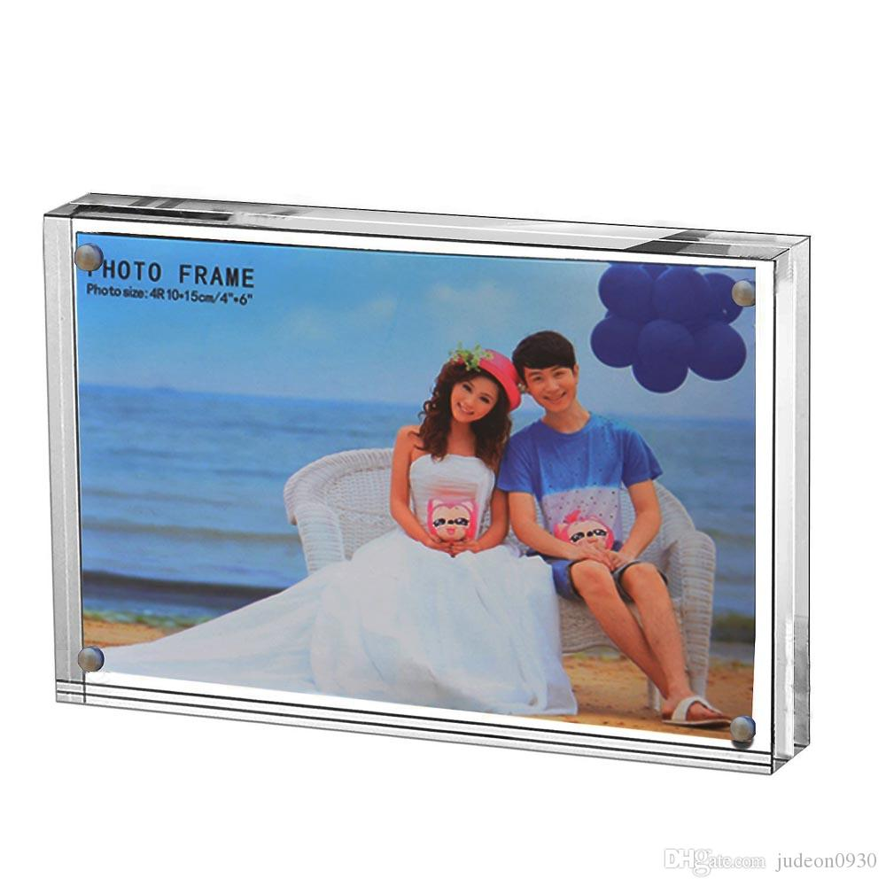 """Cadre photo en acrylique transparent, support à tableau en plexiglas magnétique, afficheurs debout doubles (2.5x3.5 """")"""