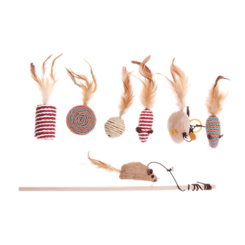 7 Pcs Cat plumes Jouet, Jouet pour chat Baguette, Teaser Interactive Baguette Set Toy
