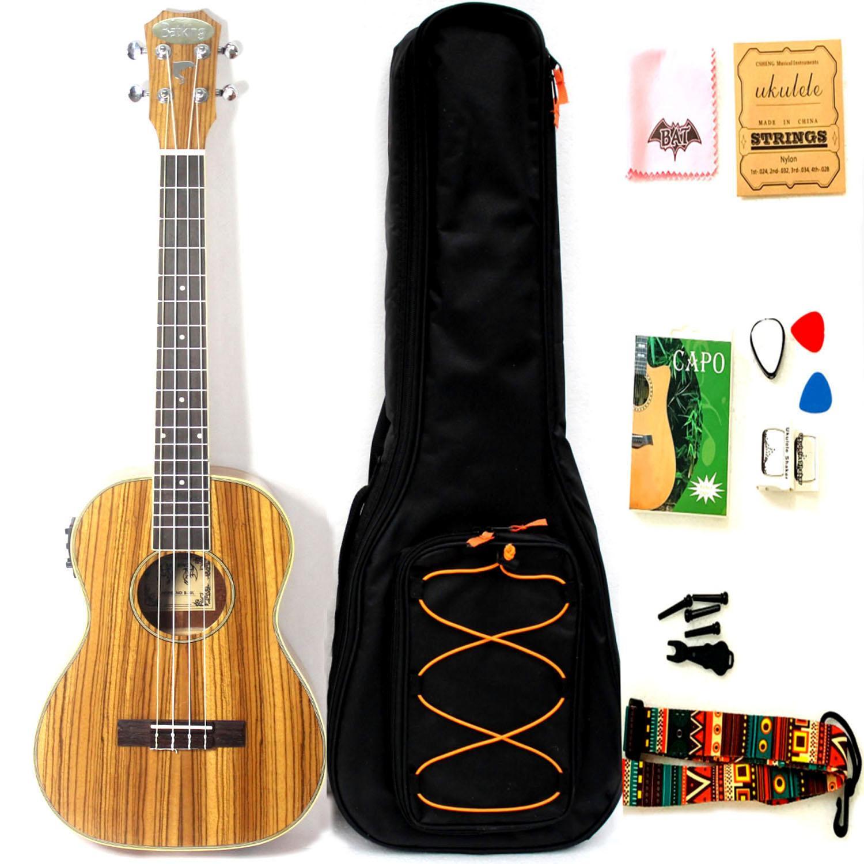 30 inç saten zebrowood akustik elektrikli ukulele ile emir ve tuner ile truss çubuk ile gig çantası
